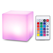 2019 USB Rechargeable LED Cube Shape Night Light With Remote Control For Bedroom 7 Colors Changing Night Light Built In Battery