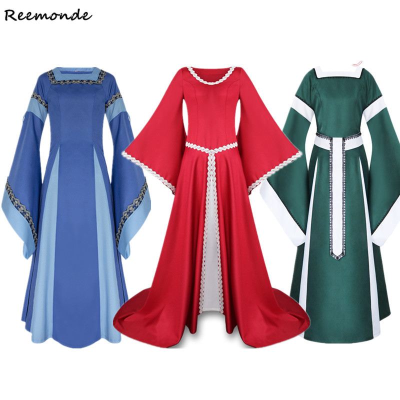 Adult Women Medieval Costumes Long Gown Dresses Victorian Blue Bell Sleeve Square Collar Back Lacing Wedding Clothes For Ladies