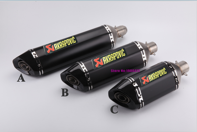 Inlet 51mm Akrapovic Motorcycle Exhaust Muffler Pipe Stainless Steel Motorbike Muffler Escape Carbon Fiber Tip with DB Killer universal 570mm motorcycle akrapovic exhaust muffler pipe motorbike scooter glossy carbon fiber muffler exhaust pipe escape