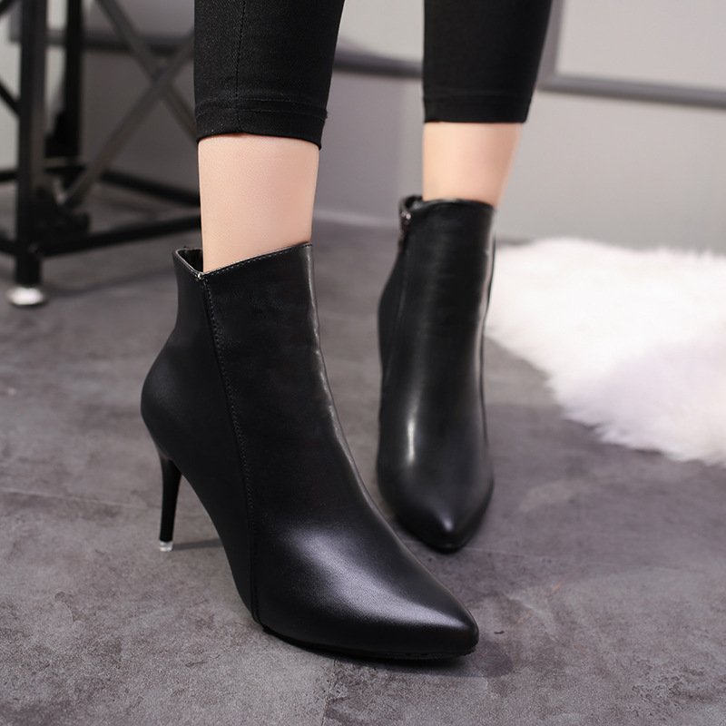 2018 Spring Autumn Stiletto Thin High Heels Pointed Toe Faux Leather Zipper Style Sexy A ...