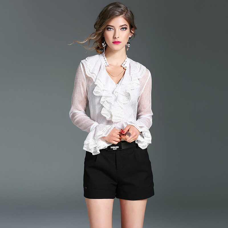 White Silk Blouse With Ruffles 18