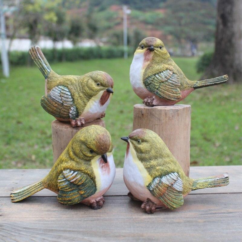 원예 정원 홈 장식 장식품 조류 수지 동상 4 조각 세트 정원 장식 홈 인테리어 아트-에서피규어 & 미니어처부터 홈 & 가든 의  그룹 1