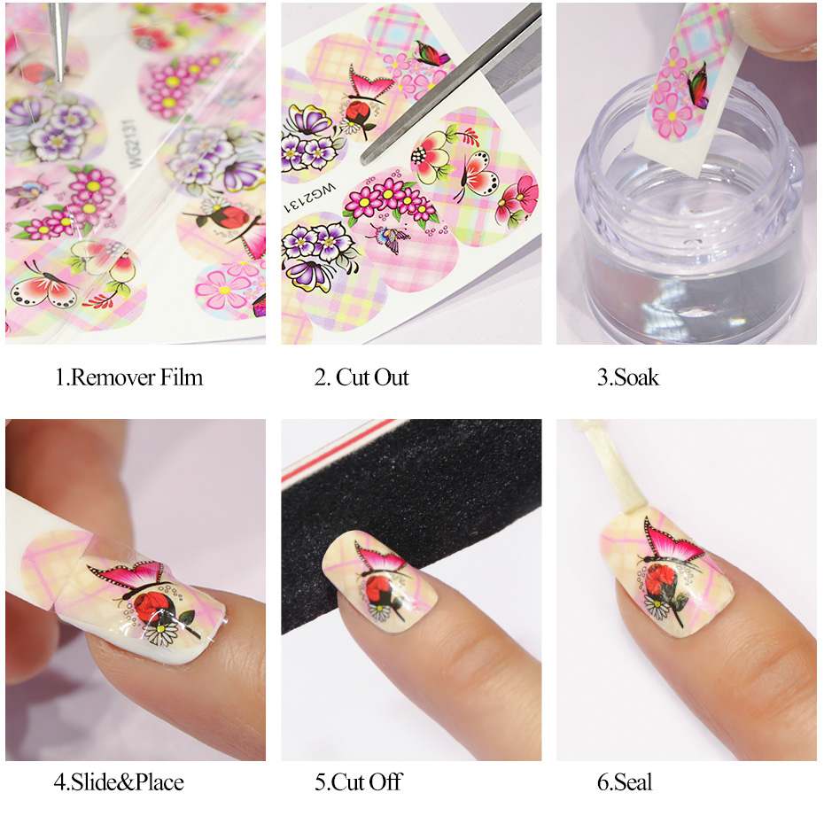 1pcs Nail Sticker Flower Water Transfer White Rose Necklace Jewelry Nail Water Decal Black Wraps Tips Manicure Sastz609-658 #6