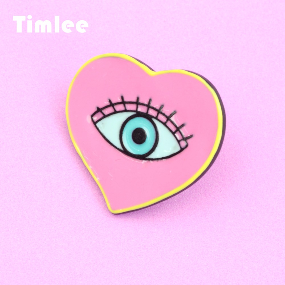 Timlee X277 القلب المينا دبابيس الشر العين - مجوهرات الأزياء