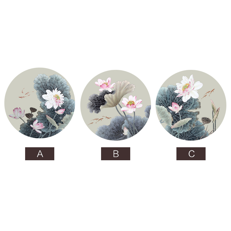 EECAMAIL New Style Round Diamond Painting Full Drill Modern Chinese Style Lotus Small Size Restaurant Stickers Diamond Embroider