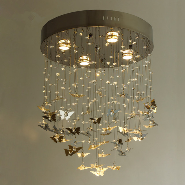 moderne kristallen plafondlamp ronde rvs vlinder lamp woonkamer slaapkamer licht led kinderkamer verlichting