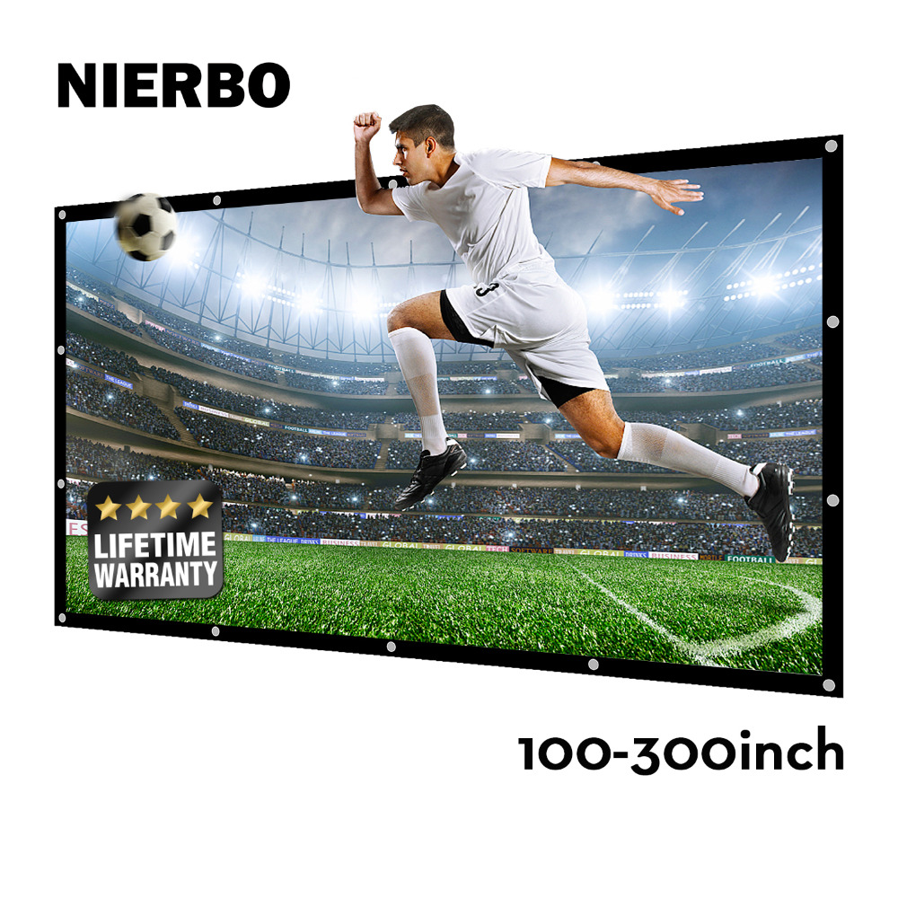 NIERBO 100 120 150 200 250 300 Inch Projection Projector Screen Canvas Matt White Portable 3D HD Home Theater Wall mounted