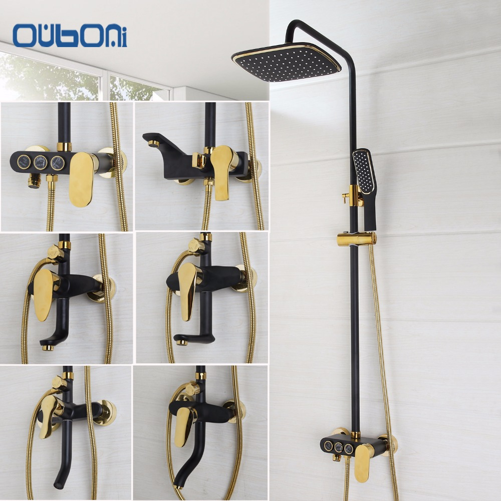 OUBONI New Arrival Bathroom Black Shower Set Wall Mounted Rainfall Shower Mixer Tap Faucet 3-functions Mixer Valve Good Quality  ouboni new arrival bathroom rainfall shower panel rain massage system faucet with jets hand shower bathroom faucet tap mixer