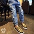 Детская одежда 2017 эластичные свободные брюки девушки джинсы Весна дети брюки