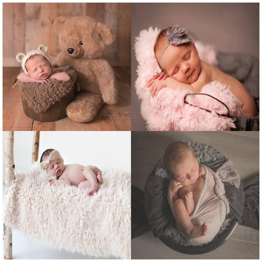 2018 новорожденных Подставки для фотографий Одеяло искусственного меха корзина Stuffe наряд для фотосессий Фон для малышей мягкие корзины фото ...