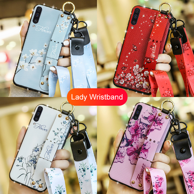 Flower Wristband Cases For samsung A10 A20 A30 A50 A70 A505 A705 Case Silicone Strap Cover Coque Shell For galaxy A <font><b>30</b></font> <font><b>50</b></font> 70 505 image