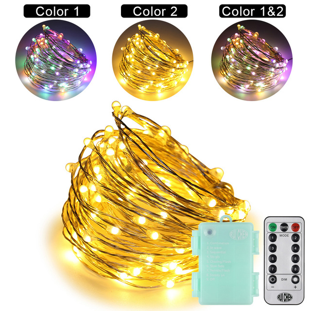 Dual-Color Remote Control 3AA Battery 10M/100 LEDS Silver Wire String Lights 8 Modes Timed Fairy Lights for Xmas Party Wedding