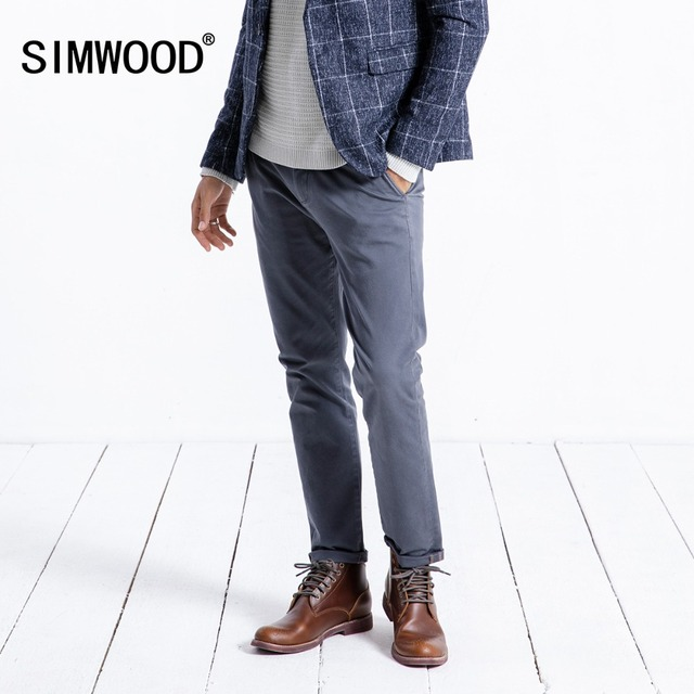 SIMWOOD 2019 Spring Winter New Casual Pants Men  Cotton Slim Fit Chinos Fashion Trousers Male Brand Clothing Plus Size