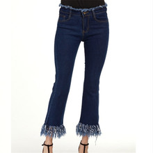 The latest stretch bell-bottoms women comfortable cool denim solid mid waist vogue pants