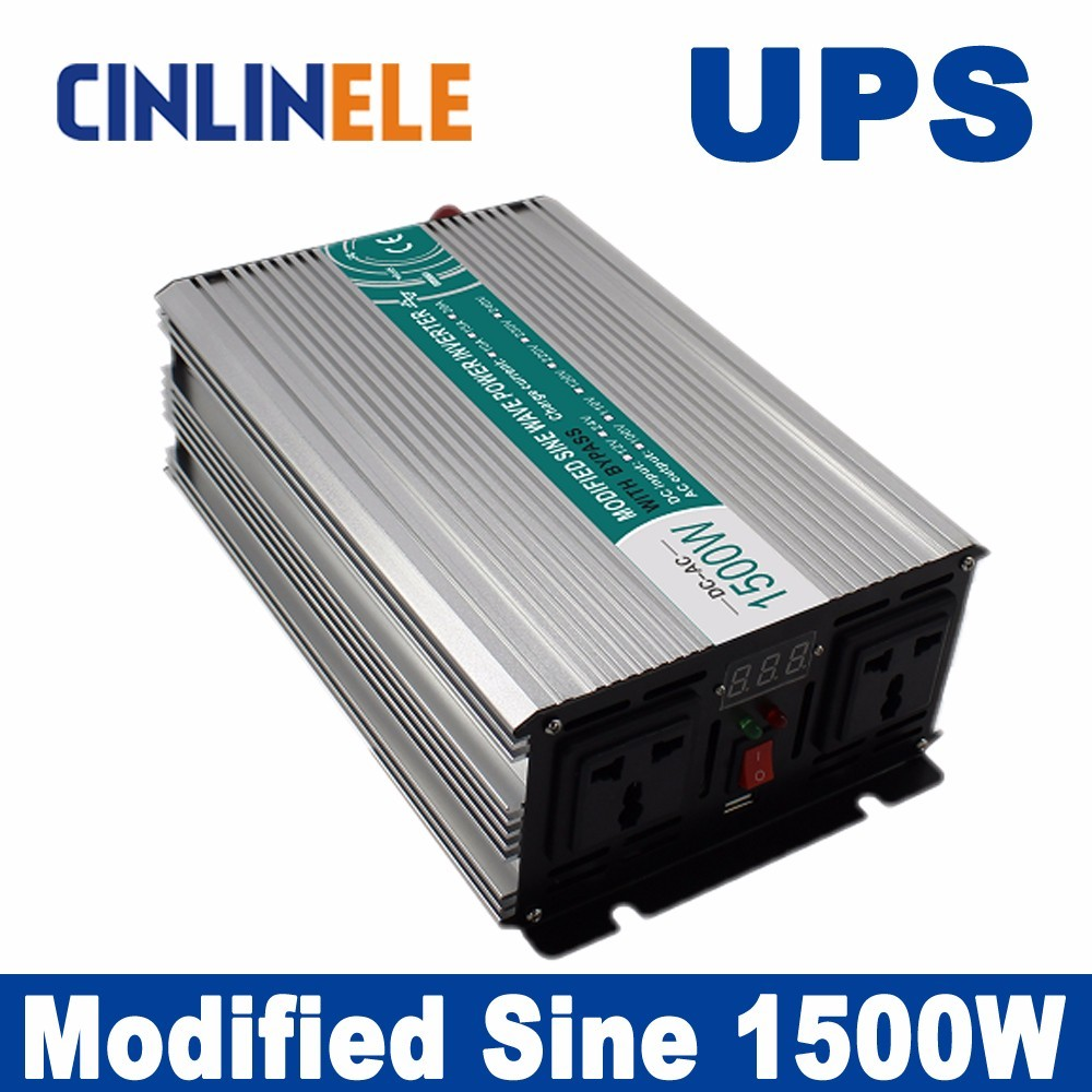 Universal inverter UPS+Charger 1500W Modified Sine Wave Invert CLM1500A DC 12V 24V 48V to AC110V AC220V  1500W Surge Power 3000W 5000w dc 48v to ac 110v charger modified sine wave iverter ied digitai dispiay ce rohs china 5000 481g c ups