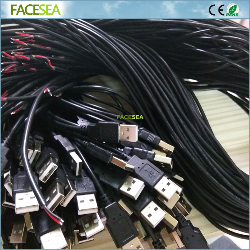 10 ~ 50pcs 50cm/100cm 5V 2pin USB Connector Tinned Copper Cable line for single LED Strip Light, desk lamp, fan connecting 1m 15mm flat tinned copper braid sleeve screening tubular cable diy