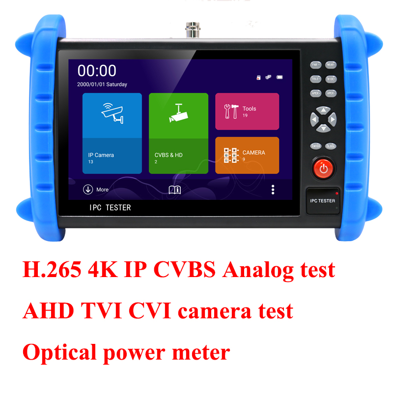 7 inch touch screen H.265 H.264 4K AHD TVI CVI IP camera tester Analog CCTV Tester CVBS test monitor with optical power meter ips touch screen cvbs ahd dahua cvi tvi sdi ip cameras analog cctv camera tester