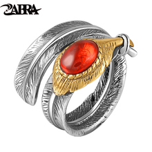 ZABRA Solid 925 Sterling Silver Red Black Zircon Feather Love Rings For Men Women Vintage Retro Thai Craft Handmade Jewelry