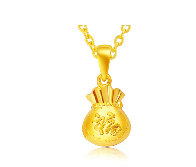 NEW ARRIVAL Pure 24K Yellow gold Lucky font b Bag b font Pendant 1 8g