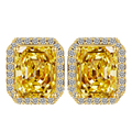 Big Square Citrine Crystal Stud Earrings for Women Korean Fashion Jewelry Gold CZ Earings Free Shipping wedding favors and gifts