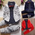 2pcs Toddler Baby Boy Kid Long Sleeve Tie Shirt Tops+ Long Pants Clothes Outfits Gentleman Clothes Set