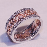 Vintage Fashion Jewelry 925 Sterling Silver Rose Gold Filled 5A Cubic Zirconia CZ Party Women Wedding