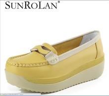 Весна лето из натуральной кожи женские туфли медсестра качели работать один туфли клинья туфли на платформе