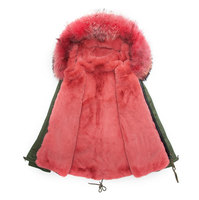 New short style army parka watermelon red lined jacket men & womens hooded winter jacket fur parka