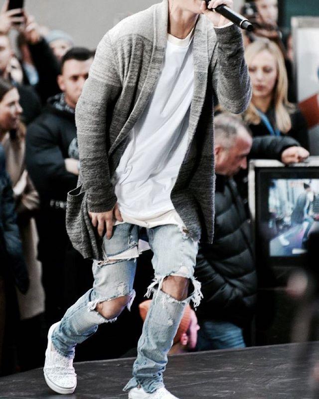 43a4ec1d02f kanye denim jumpsuit designer clothes rockstar justin bieber ankle zipper  destroyed skinny ripped jeans men
