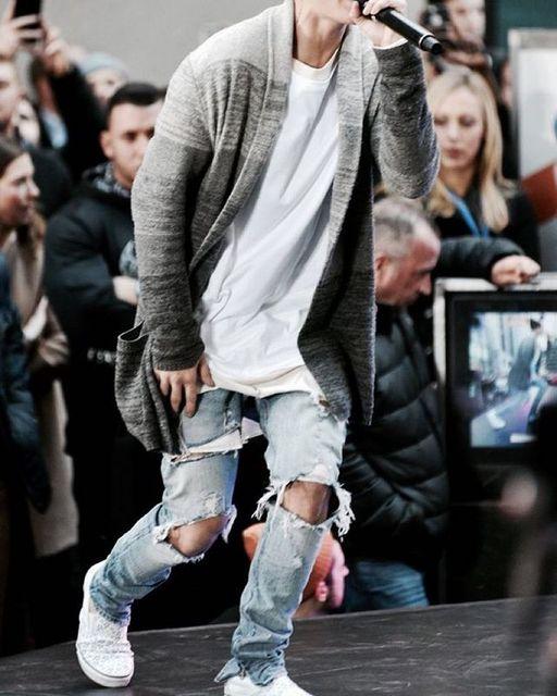 e6c774223 kanye denim jumpsuit designer clothes rockstar justin bieber ankle zipper  destroyed skinny ripped jeans men