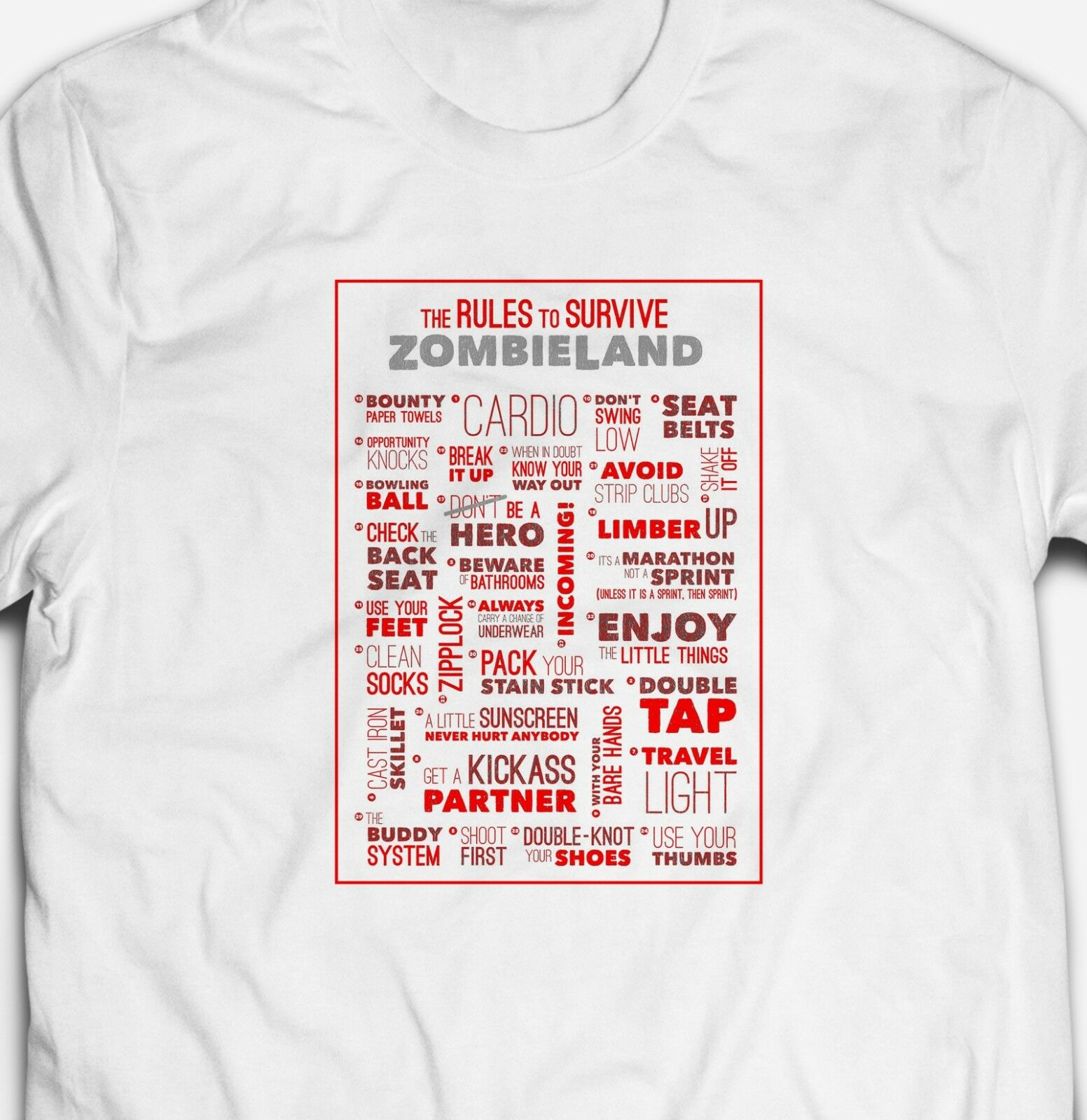 2019 Funny Funny Rules To Survive Zombieland Movie Mens-Fit 100%Cotton T-Shirt Tee Shirt Unisex Tees image
