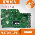 Материнская плата для ноутбука For Asus X751SA N3700  процессор 4 Гб ОЗУ  материнская плата для For Asus X751S X751SJ X751SV  материнская плата 90NB07M0-R00050  протестиро...