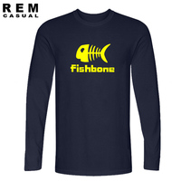2016 NEW Funny Tee Cotton Lovers Fishbone T Shirt Mens Party Animal Autumn S Top Long
