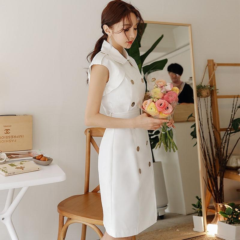 Dabuwawa mujeres verano blanco Midi vestido moda Oficina señora doble pecho A Line vestido 2019 nuevo vestido elegante DN1BDR015-in Vestidos from Ropa de mujer    1