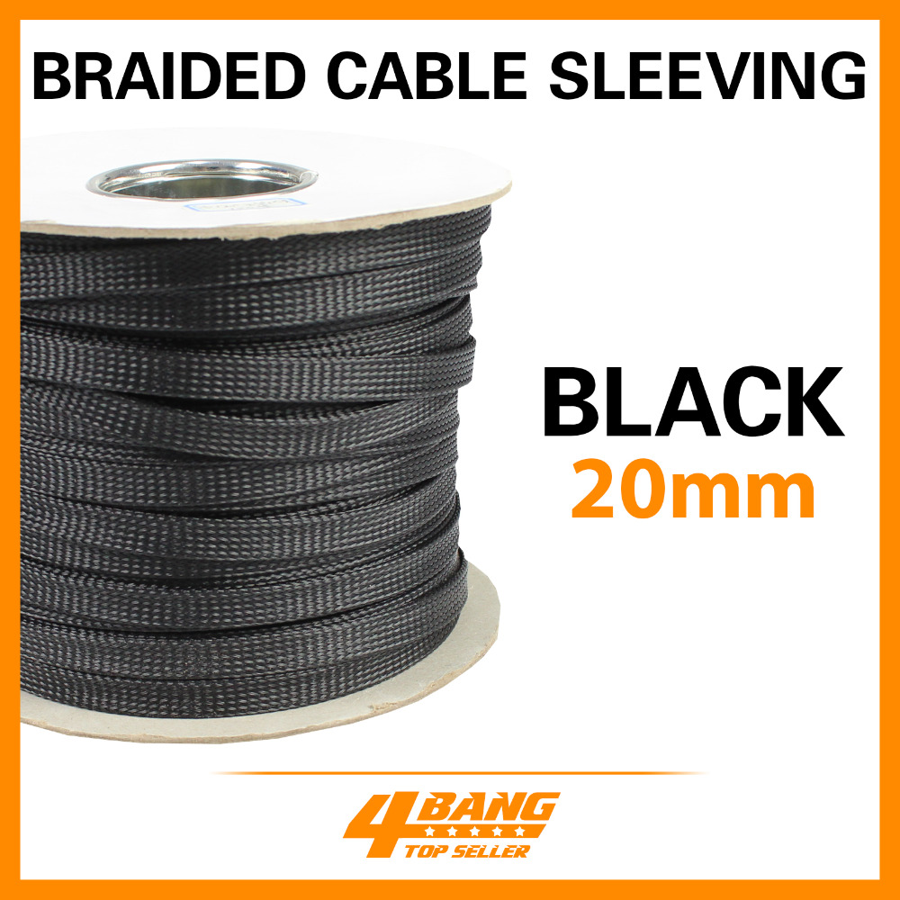 39ft Black 20mm Diameter Expandable Braided Sleeving Decoration High Quality Tubes