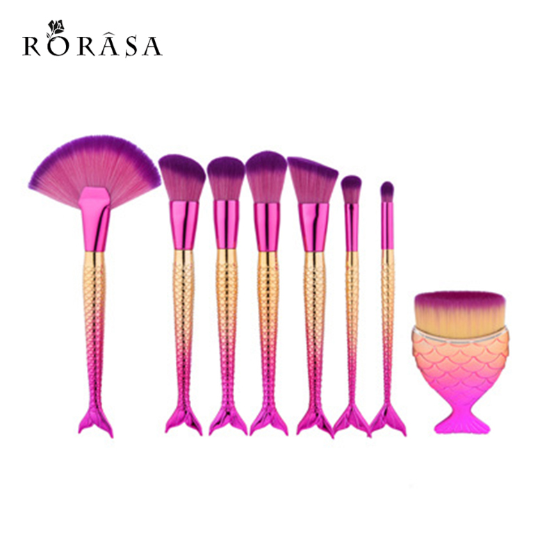 8Pcs Professional Mermaid Makeup Brushes Set Foundation Blending Eyebrow Eyeliner Blush Blending Contour Cosmetic Make Up Tools 8pcs mermaid color make up brushes eyebrow eyeliner blush blending contour foundation cosmetic beauty makeup fan brush tools kit