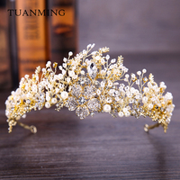 Baroque Vintage Gold Wedding Hair Accessories Rhinestone Crystal Tiaras Wedding Crown Bridal Princess Queen Women Hair
