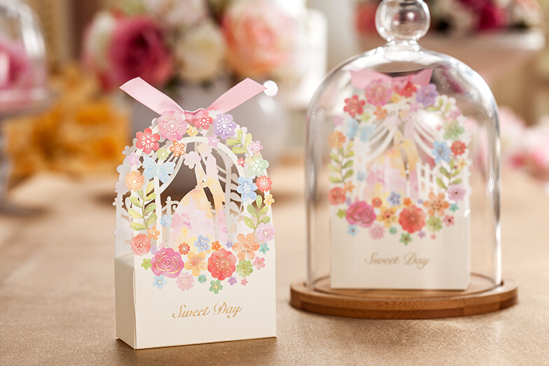 Wedding Gift Bag Elegant Luxury Decoration Flower Engagement Laser Cut Party Sweet Favors Paper Candy Box In Bags Wring Supplies