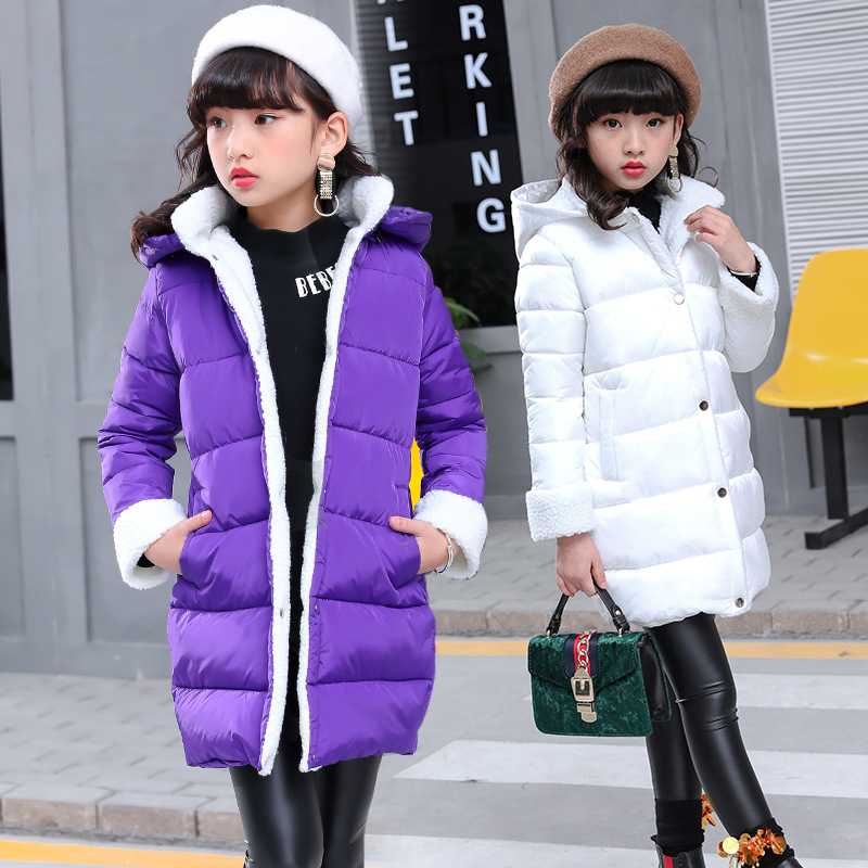Girl Clothes Winter Jacket Coat Outerwear Casual Solid Hooded Warm Park For A Girl Children Long Jacket 120-160 High QualityGirl Clothes Winter Jacket Coat Outerwear Casual Solid Hooded Warm Park For A Girl Children Long Jacket 120-160 High Quality