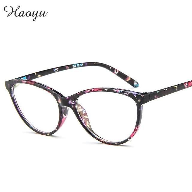 Haoyu caixa Grande Olho de Gato Retro Óculos Moda Enquadrar Vidros Ópticos  Quadro Prescrição de Óculos Armações de óculos Oculos de grau fb28a395cc