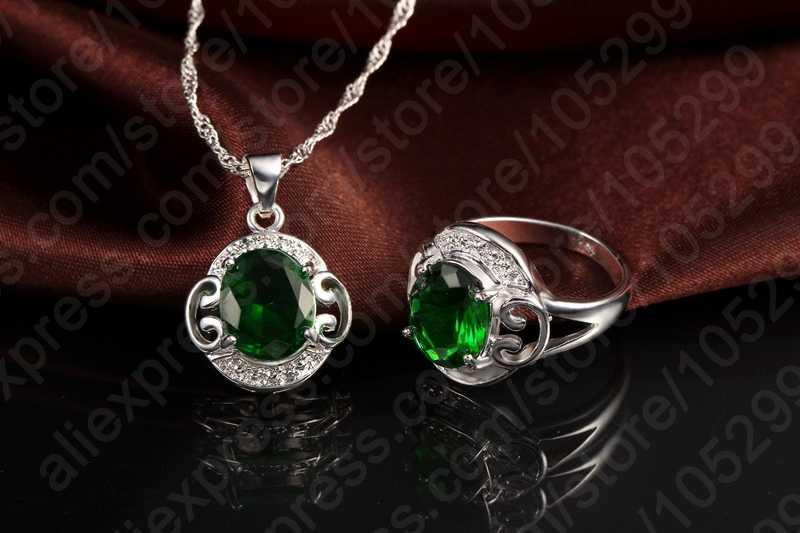 925 Sterling Silver najlepsza jakość zielony Cubic cyrkon kryształ moda biżuteria ustawia naszyjnik kolczyki pierścień