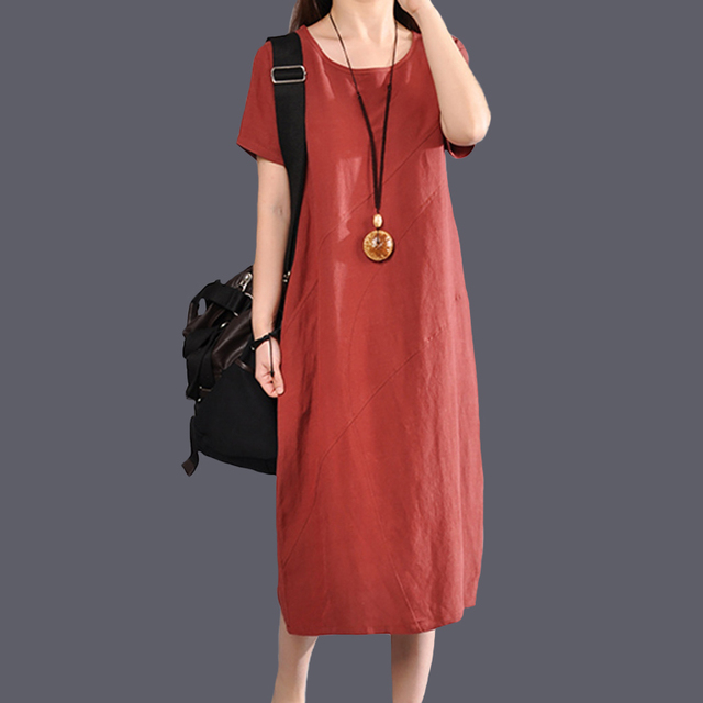 2018 New Summer Women Long dress Solid Slim Loose Cotton And Linen Dresses Blue Dark Green Rust Red 5676