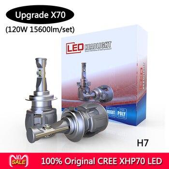 1 Set P70 120W 15600LM H7 Car LED Headlight Kits XHP70 plus Chip  Super White 6000K LED Fog Light Bulbs H4 H8 H9 H11 9005/6 9012