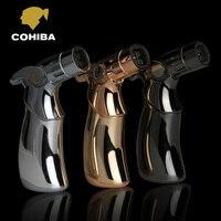 COHIBA High Quality Titanium Metal Woodpecker Type Pocket Windproof 4 Torch Jet Flame Cigar Lighter 3PCS