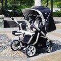 Carrinho de criança gêmeo two-way duplo carrinho buggies podem sentar mentindo alta paisagem suspensão