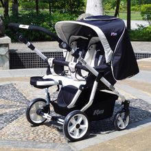 Twin stroller two-way double trolley buggies can sit lying high landscape suspension
