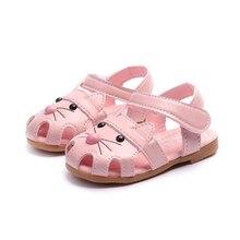 COZULMA Kids Cute Cat Beach Sandals Baby Girls Cut-outs Summer Shoes Children Non-slip Hook & Loop Size 21-30