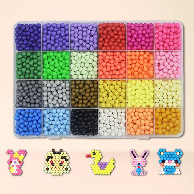 24 Colors diy water Magic Beads Auqu Bead Puzzles Kids Toys Birthday Gift aqua Animal Molds Hama Beads Perler Beads 3d  Puzzle