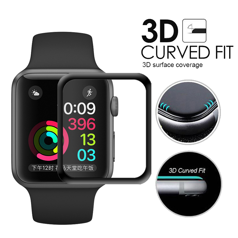 Tempered Glass For Apple Watch 38mm 42mm Series 2 1 Full Cover 3D Curved Black Edge Screen Protector Film For iWatch 38mm 42mm