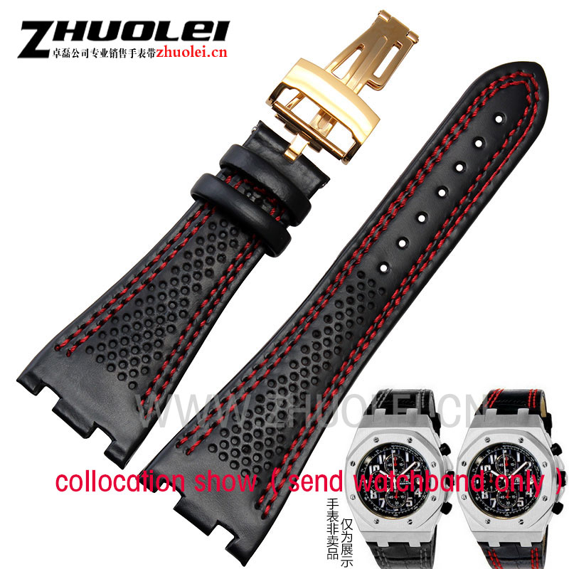 100% Handmade 28 mm With porosity Genuine Leather Watch Band Strap For AP mens watches Bracelet accessories100% Handmade 28 mm With porosity Genuine Leather Watch Band Strap For AP mens watches Bracelet accessories